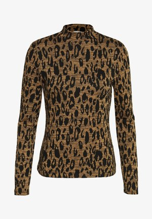 HIGH NECK ANIMAL - Maglietta a manica lunga - black/tan