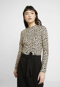 Whistles - BIG CAT PRINT HIGH NECK - Long sleeved top - beige - 0