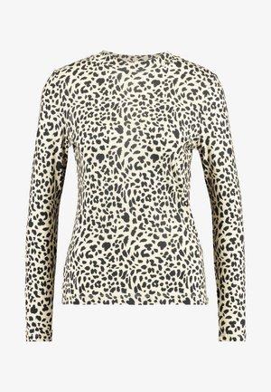 BIG CAT PRINT HIGH NECK - Long sleeved top - beige