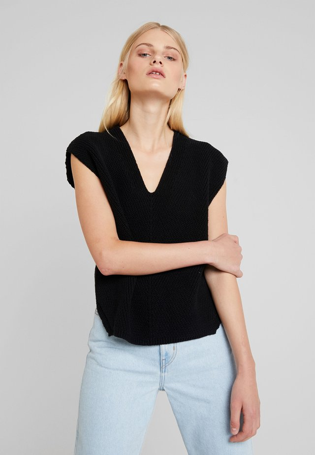 BUTTON BACK  - T-shirt z nadrukiem - black