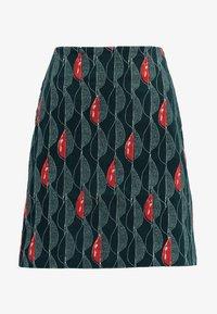 White Stuff - TRAILING LEAVES VELVET SKIRT - A-line skirt - dark green - 3
