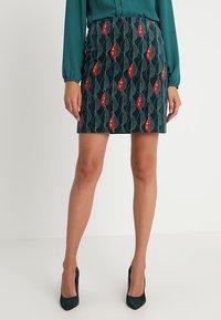 White Stuff - TRAILING LEAVES VELVET SKIRT - A-line skirt - dark green - 0