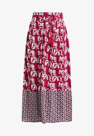 LEAF PRINT MAXI SKIRT - Maxi sukně - red