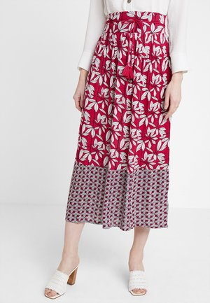 LEAF PRINT MAXI SKIRT - Maxi sukně - red
