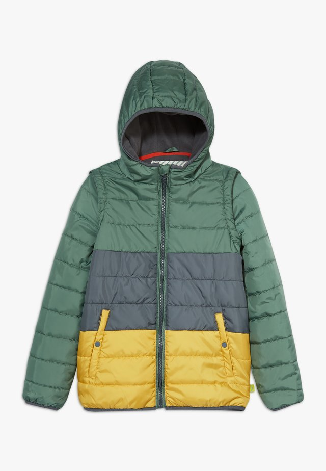 COLOURBLOCK PUFFER COAT GILET - Veste mi-saison - dark blue/yellow