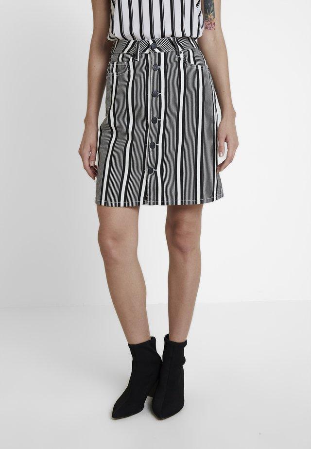 DANI SKIRT STRIPE - Denim skirt - black/white