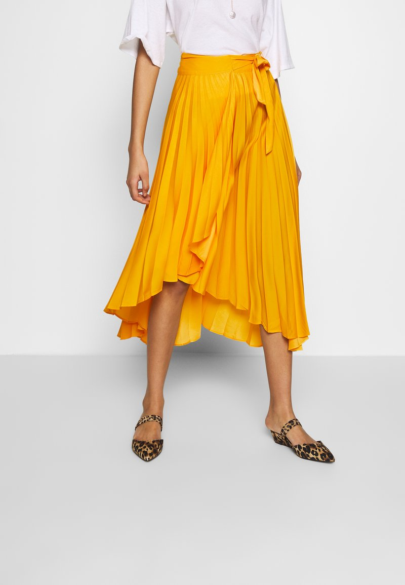 Who What Wear - THE PLEATED WRAP SKIRT - A-line skirt - sunflower
