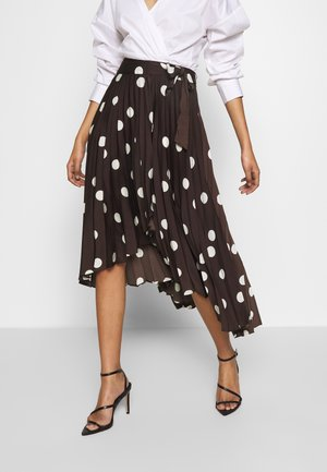 THE PLEATED WRAP MIDI SKIRT - A-line skirt - brown