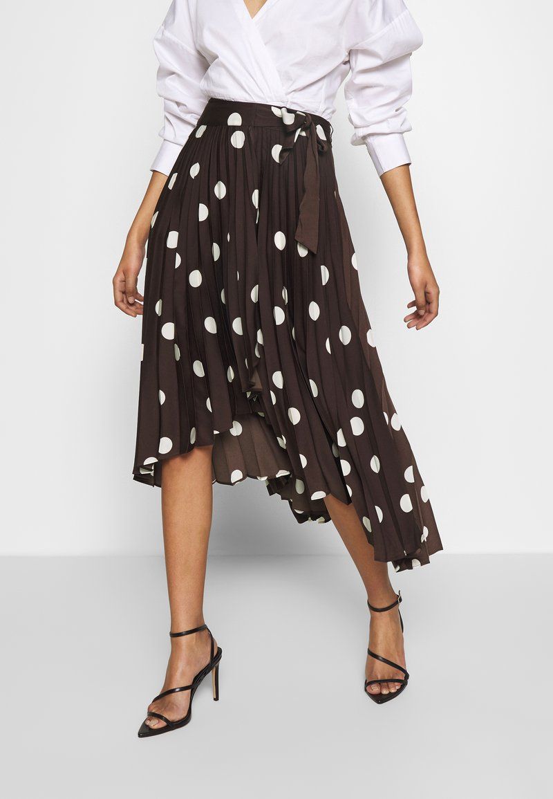 Who What Wear - THE PLEATED WRAP MIDI SKIRT - A-line skjørt - brown