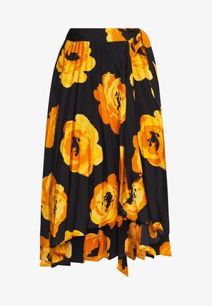 THE WRAP MIDI SKIRT - Jupe trapèze - black