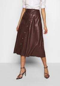 Who What Wear - MIDI SKIRT - A-line skjørt - coffee - 0
