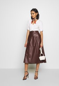 Who What Wear - MIDI SKIRT - A-line skjørt - coffee - 1