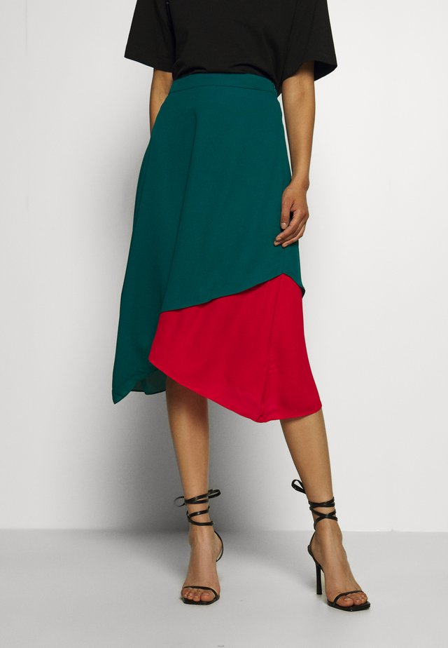 ASYMMETRIC LAYERED SKIRT - A-line skirt - jade/siren