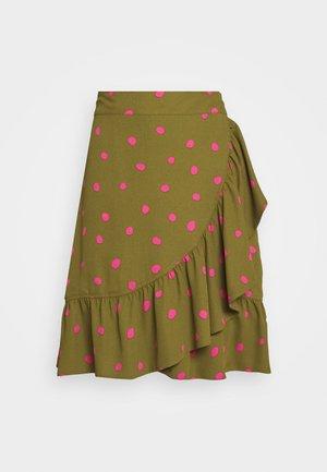 RUFFLE WRAP MINI SKIRT - A-line skirt - army/pink