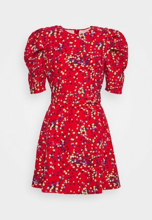 THE PUFF BELTED DRESS - Day dress - red