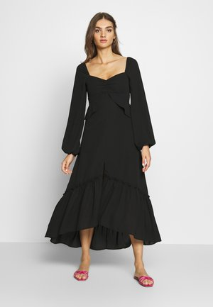 THE PUFFSLEEVE MIDI DRESS - Korte jurk - black