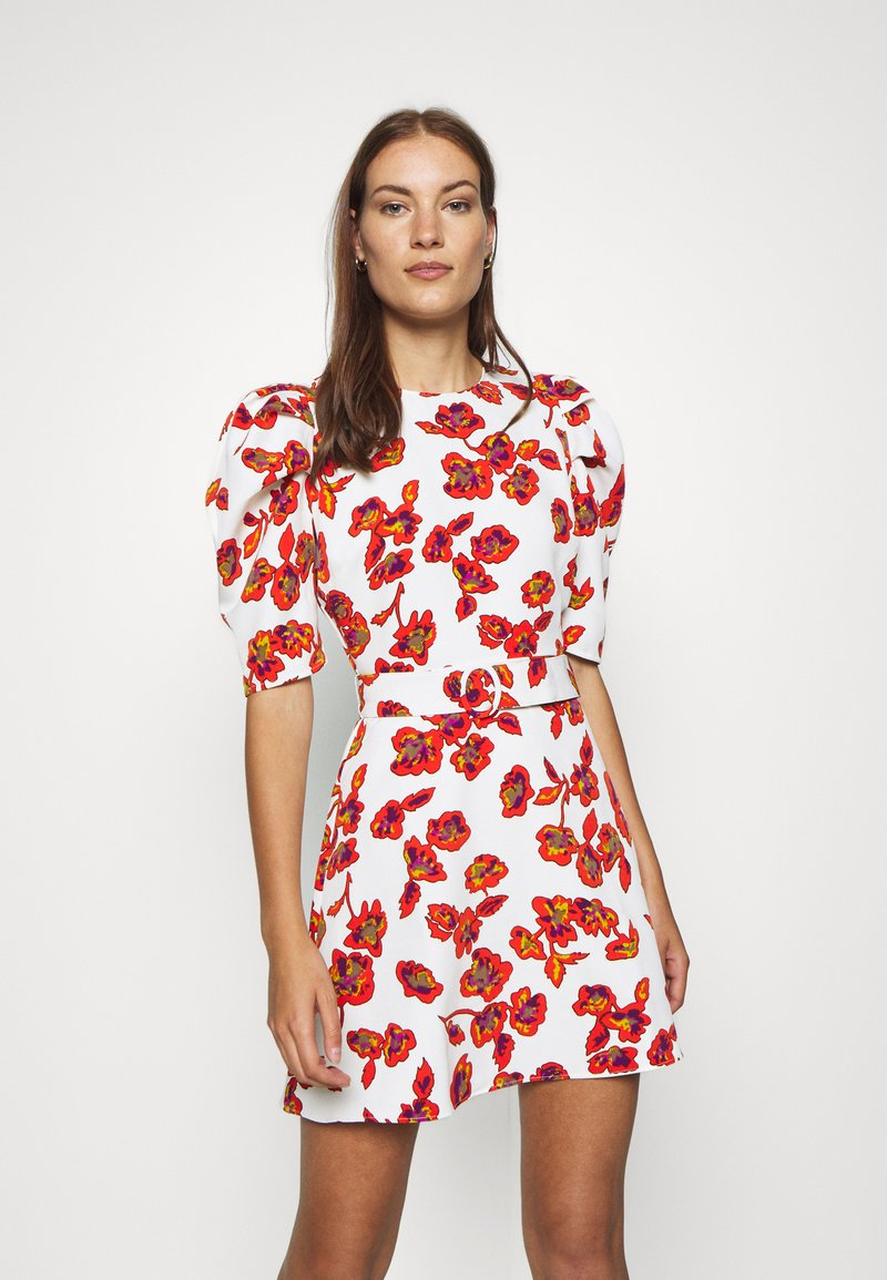 Who What Wear - THE PUFF BELTED DRESS - Day dress - white