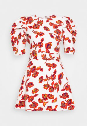 THE PUFF BELTED DRESS - Korte jurk - pop art white