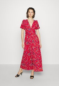 Who What Wear - THE BELTED PUFF SLEEVE DRESS - Maxikjole - confetti dot red - 0