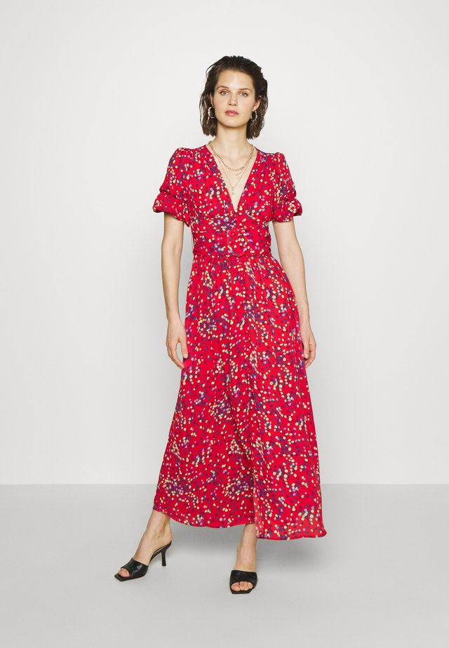 THE BELTED PUFF SLEEVE DRESS - Vestido largo - confetti dot red