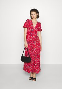 Who What Wear - THE BELTED PUFF SLEEVE DRESS - Maxikjole - confetti dot red - 1