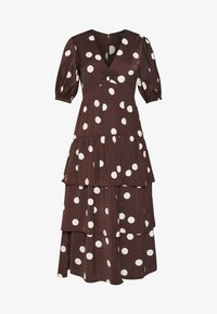 Who What Wear - THE RUFFLE MIDI DRESS - Vestito estivo - brown/white - 4