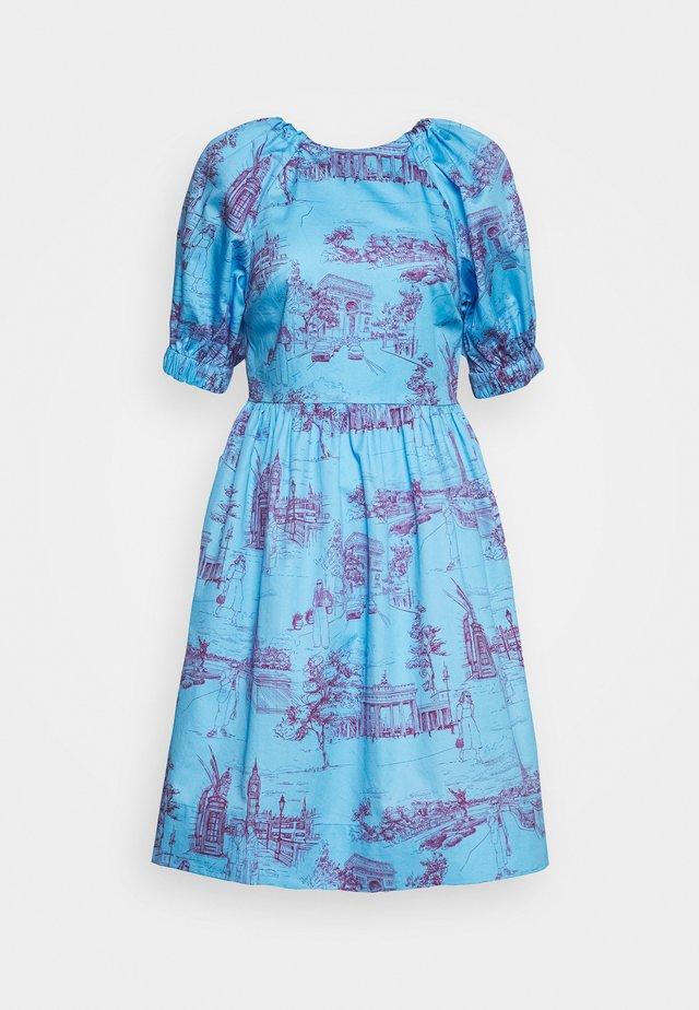 CUT OUT BACK DRESS - Vestido informal - toile blue/burgundy