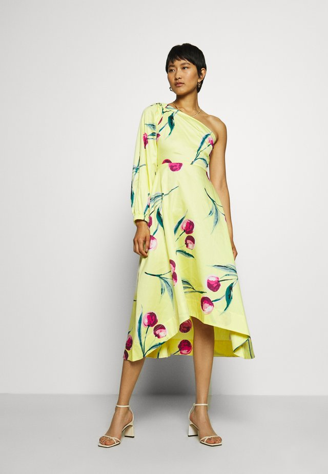 ONE SHOULDER DRESS - Day dress - yellow