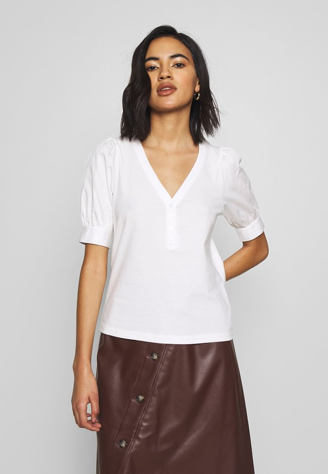 PUFF SLEEVE - T-shirt med print - white