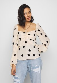 Who What Wear - THE PUFFSLEEVE MILKMAID - Blusa - ivory/black - 0