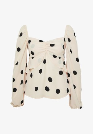 THE PUFFSLEEVE MILKMAID - Blus - ivory/black