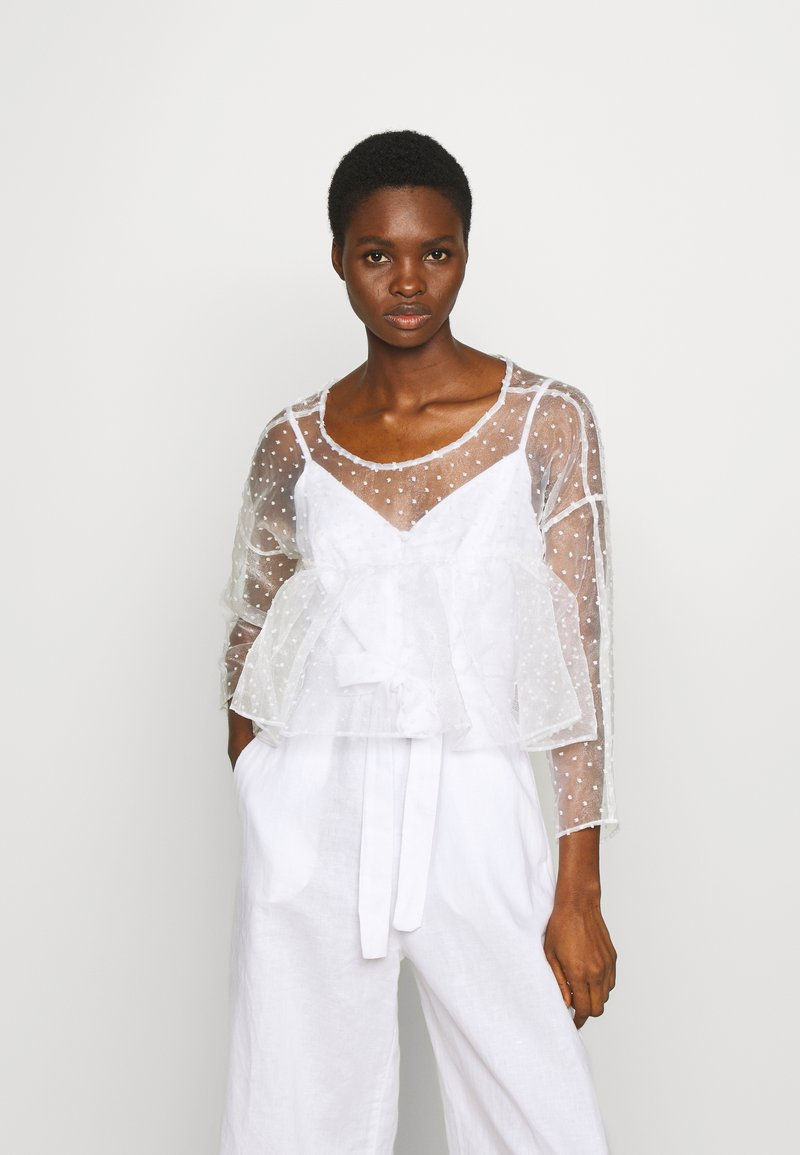 Who What Wear - THE CROPPED BABYDOLL - Blouse - white