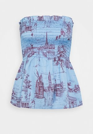 SMOCKED STRAPLESS - Débardeur - toile blue/burgundy