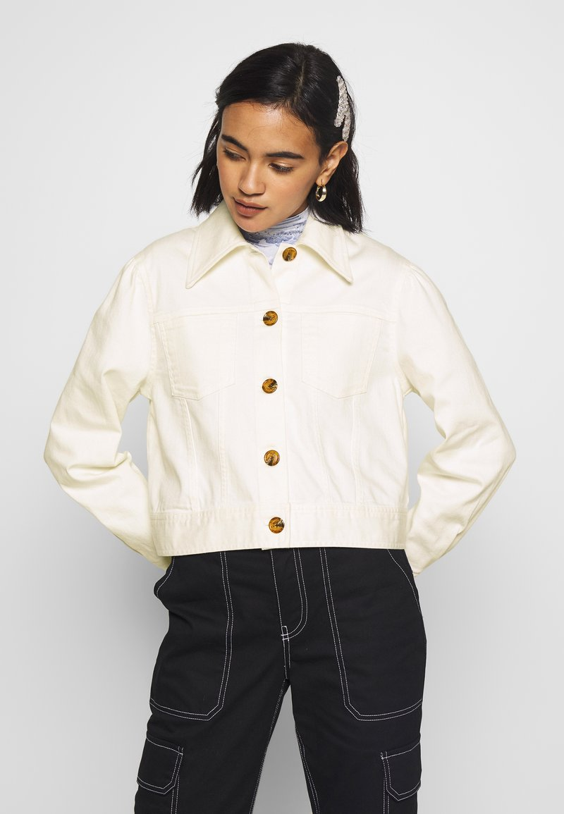 Who What Wear - THE PUFF SLEEVE JACKET - Giacca di jeans - warm white