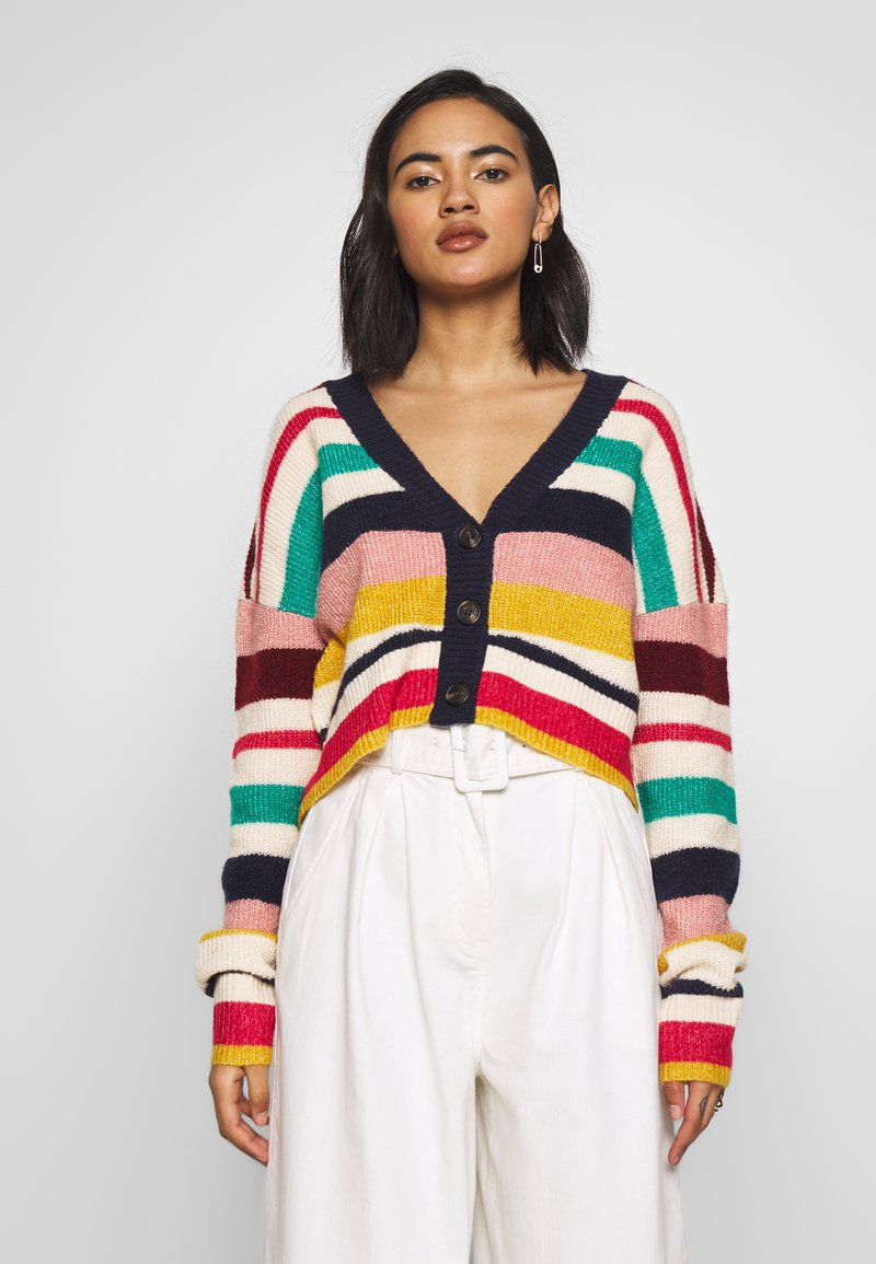 Who What Wear - THE BOXY - Cardigan - multi-stripe