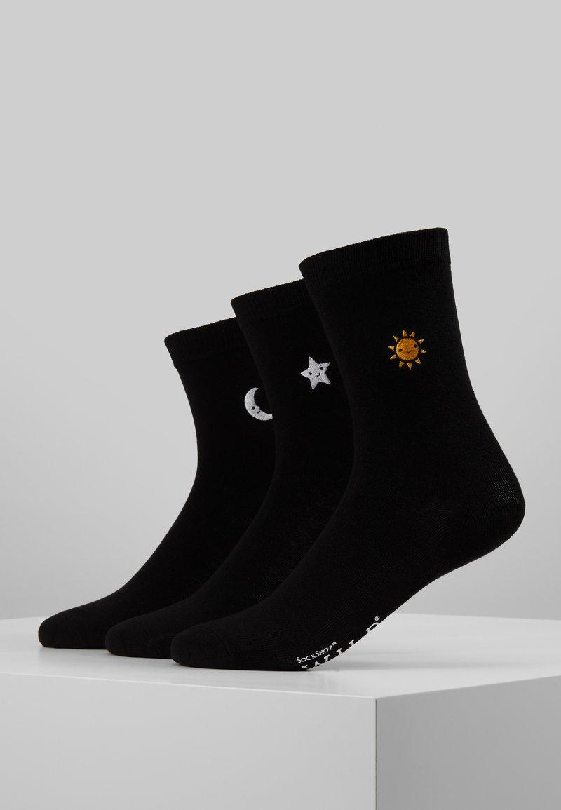Wild Feet - TROPICAL EMBROIDERED SOCKS 3 PACK - Sokken - black