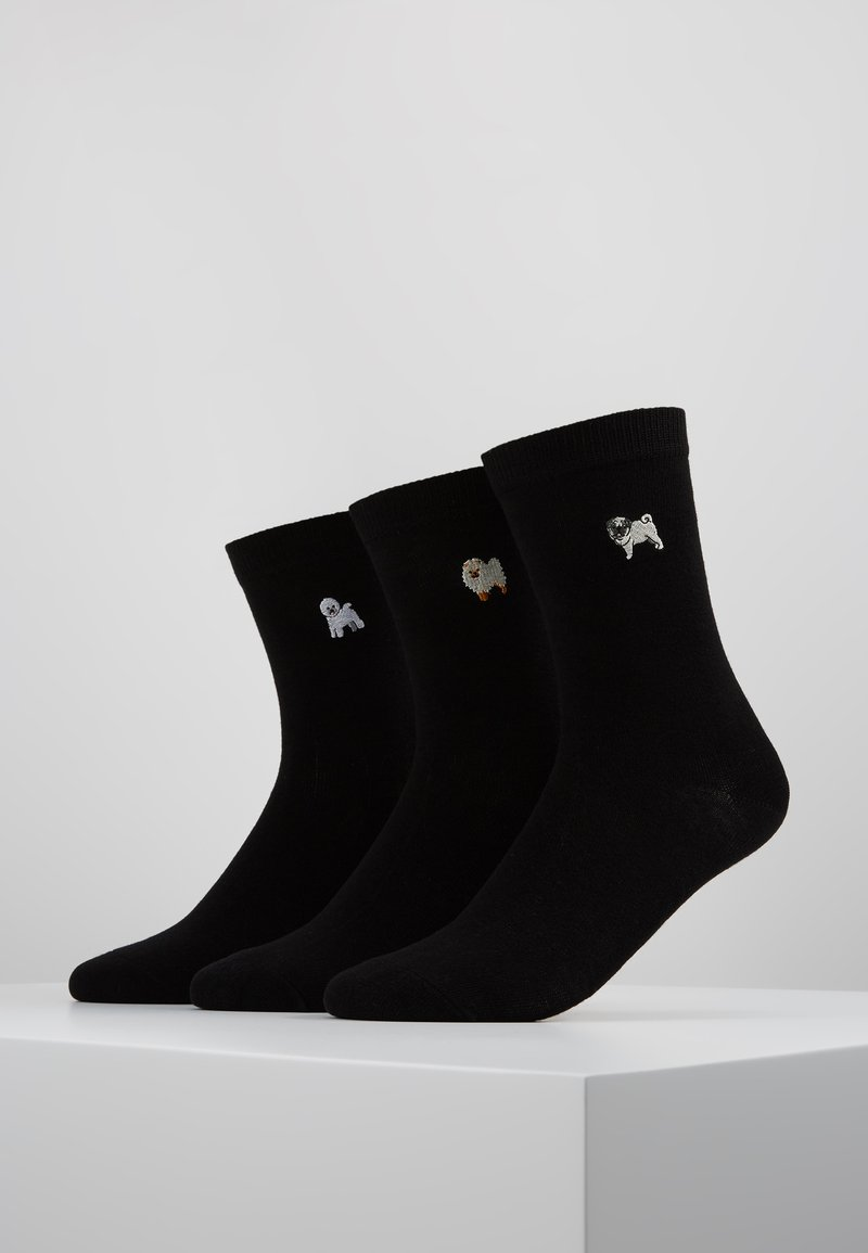 Wild Feet - WILD FEET EMBROIDERED SOCKS 3 PACK - Calze - black