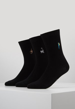 TROPICAL EMBROIDERED SOCKS 3 PACK - Sokken - black