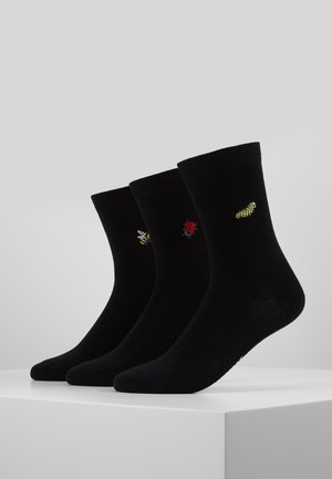 SUMMER BUGS EMBROIDERED SOCKS 3 PACK - Sokken - black