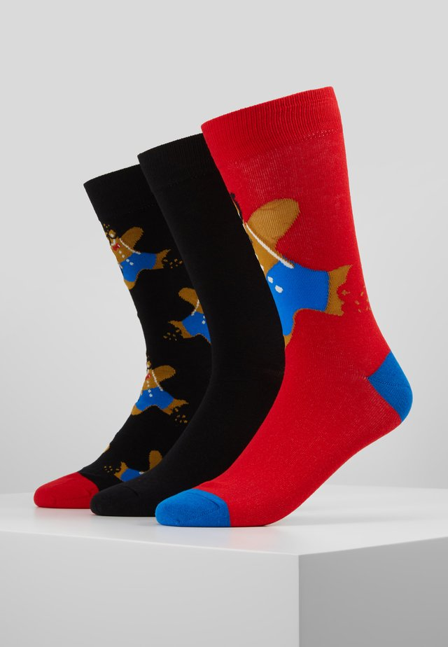 GINGERBREAD MAN SOCKS 3 PACK - Socks - black/red
