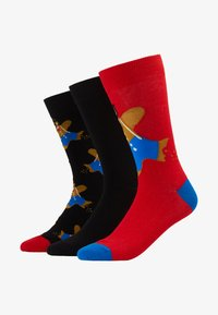 Wild Feet - GINGERBREAD MAN SOCKS 3 PACK - Ponožky - black/red - 1