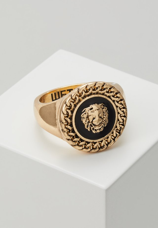 CHAIN AND LION HEAD - Bague - gold-coloured