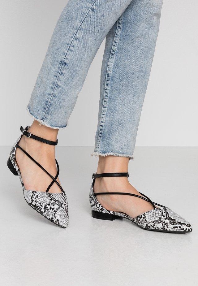 BRANDY - Ankle strap ballet pumps - black/white