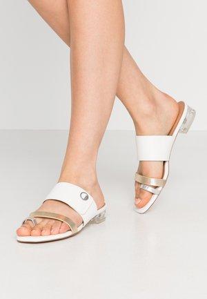 SAFFY - T-bar sandals - white/gold/silver