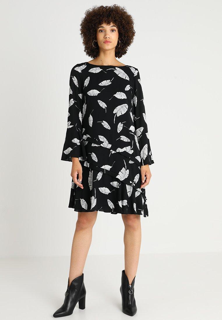 Wallis - FEATHER RUFFLE SHIFT - Day dress - black