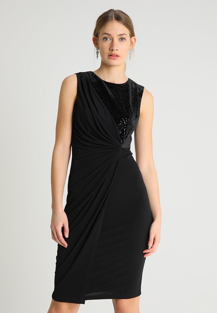 Wallis - SEQUIN DRESS - Jersey dress - black