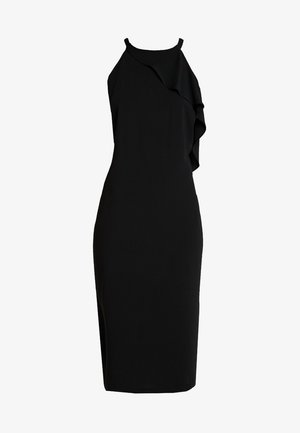AMERICAN NECK RUFFLE DRESS - Sukienka etui - black