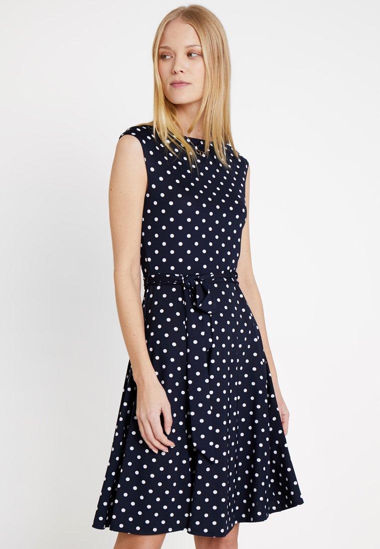 Wallis - POLKA DOTS - Jersey dress - dark blue