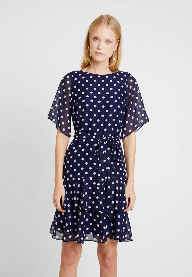 Wallis - POLKA DOT TWO TIERED FIT AND FLARE NAVY EXCLUSIVE DRESS - Vestido informal - navy