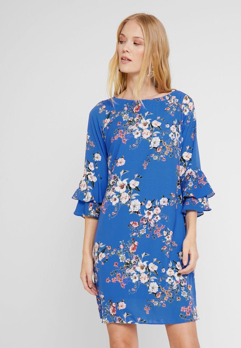 Wallis - BOTANICAL DOUBLE FLUTE SLEEVE DRESS - Vestido informal - blue